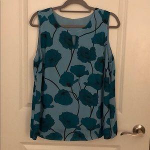 CABi Blue Floral Poppy Top, size L